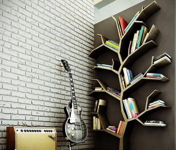 Ağaç Dalları ile Kitaplık Tasarımlar - 1